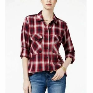 Sanctuary Plaid Tartan Boyfriend Button Down Shirt